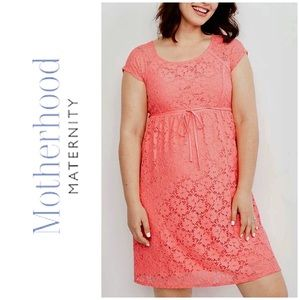 Motherhood Maternity Dress Knee Length Lace medium